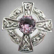 Scottish Sterling Amethyst Rhinestone Brooch or Pendant