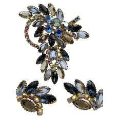 Gorgeous Shades of Blue Marquise Rhinestone Brooch and Earrings
