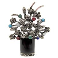 Art Deco Sterling Multi Stone Marcasite Flower Pot Brooch