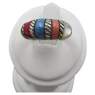 Sterling Silver Inlaid Multi Stone Domed Ring