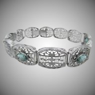 Edwardian / Art Deco Filigree Bracelet with 3 Aqua Paste Jewels