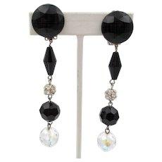 "Les Bernard Black Plastic and Crystal 3.5""  Dangling Earrings"