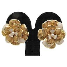 Balenciaga Couture Floral Enamel Clip Earrings