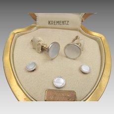 Art Deco Krementz Mother of Pearl Platinum Overlay Tuxedo Set