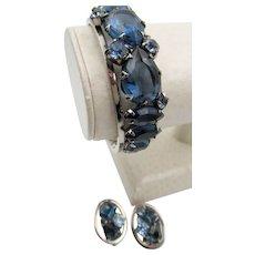 Midnight Blue Rhinestone Clamper Rhodium Plated Bracelet and Earrings