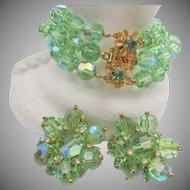 DeMario Green Crystal Triple Strand Glass Bracelet and Earrings