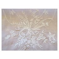 White Organdy Embroidered Runner and Placemat Set