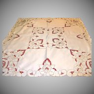 Vintage German Cutwork Ecru Cream Tablecloth Centerpiece