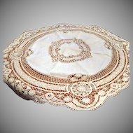 Vintage Ecru Round Bobbin Lace Tablecloth