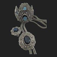 Vintage Lorraine Marsel Blue Rhinestone Necklace, Bracelet and Earring Parure Set