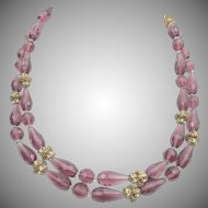 Signed Miriam Haskell Purple Faceted Glass and Rhinestone Necklace