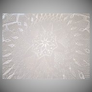 Vintage Ecru Hand Knitted Fine Lace Round Tablecloth