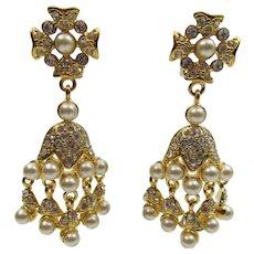 Kenneth Jay Lane KJL Chandelier Faux Pearl and Rhinestone Earrings