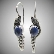 Vintage Sterling Snake Pierced Earrings With Lapis Lazuli