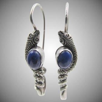 Vintage Sterling Snake Pierced Earrings With Lapis Lazuli