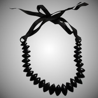 Victorian Whitby Jet Mourning Collar Ribbon Necklace