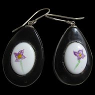 Victorian Whitby Jet Hand Painted Porcelain Inset Earrings