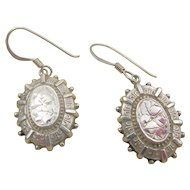 Antique Victorian 1880 Sterling Silver Engraved Pierced Earrings - G.F.W.