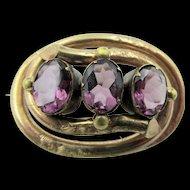 Victorian 12k Gold Amethyst  Paste Glass Lover's Knot Brooch
