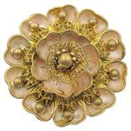 Vintage Art Deco Neiger Czech Enamel Heart Petal Brooch