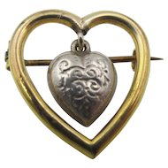 Victorian Heart within a Heart Brooch