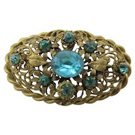 1920's Art Deco Czech Rhinestone and Brass Filigree Brooch