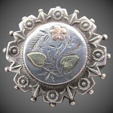 Victorian Sterling Silver Engraved Brooch