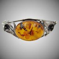 Vintage Sterling Silver Amber Clasp Bracelet Hallmarked London