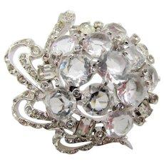 Vintage Signed Reja Open Back Crystal Rhinestone Brooch
