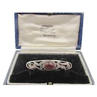 Vintage Victorian Sterling Silver Carnelian Bar Pin in Antique Box
