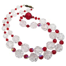 Vintage Crystal and Red Faceted Beaded Czech Necklace