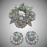 Vintage Signed Warner Black Diamond Brooch and Earring Set