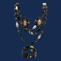 Vintage Signed Hobe Black and Gold Art Glass Necklace, Bracelet and Earring Parure