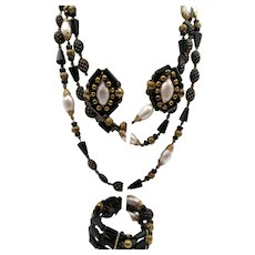 Vintage Signed Hobe Black and Gold Art Glass Necklace, Bracelet and Earring Parure