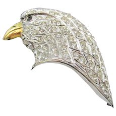 Vintage Signed Butler and Wilson Rhinestone Eagle Head Brooch