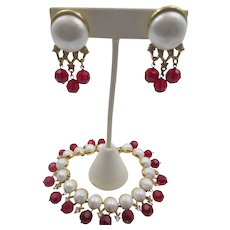 "Trifari 1958 ""Fascination"" Faux Pearl and Red Beaded Bracelet and Earring Set"