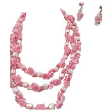 Vintage Venetian Pink Lampwork Floral Glass Necklace and Earrings