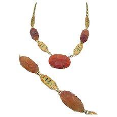 Vintage Art Deco  Carved Carnelian and Enamel Necklace and Bracelet