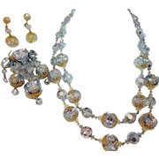 Vintage Vendome Stunning Crystal Pagoda Necklace, Brooch and Earring Parure