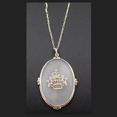 Vintage Sterling Camphor Glass Marcasite Pendant Necklace