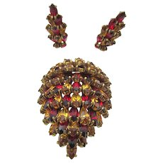 Vintage Christian Dior by Kramer of New York Citrine and Red Rhinestone Fur Clip and Earring Set