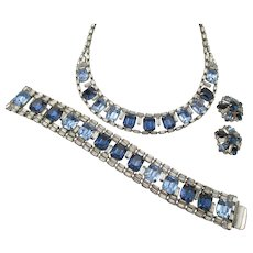 Vintage Hobe' Gorgeous Blue Rhinestone Baguette Necklace, Bracelet and Earring Parure