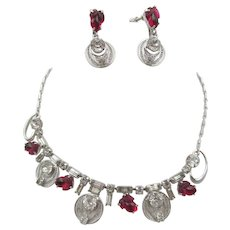 Vintage  Sterling Silver Rhinestone and Fruit Salad Glass Necklace and Earrings