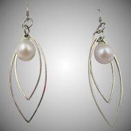 Vintage Pair of Sterling Silver Faux Pearl Drop Earrings