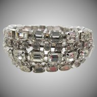 Vintage Kramer Crystal Five Row Rhinestone Bracelet