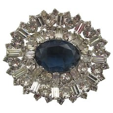 Vintage Crystal Baguette and Oval Faceted Blue Rhinestone Brooch