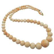 Vintage Natural Angel Skin Coral Beaded 18 in. Necklace