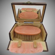 Vintage Celluloid Brush and Comb Travel Leather Box England