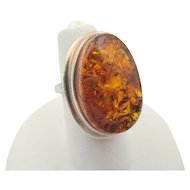 Vintage Sterling Baltic Amber Ring