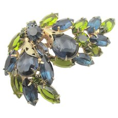 Vintage Blue and Green Rhinestone Reticulated Brooch